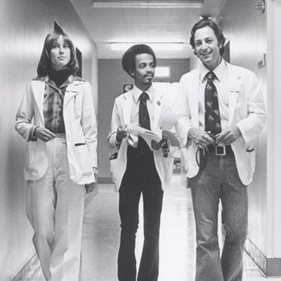 Medical students in the hallways of UCLA Medical Center