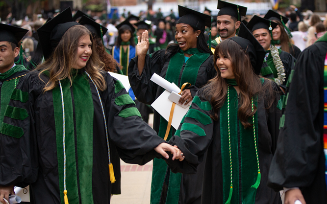 Photo of the 2019 graduation, students in their caps and gowns.